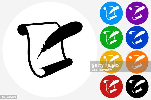 ilustraciones, imágenes clip art, dibujos animados e iconos de stock de paper scroll  feather quill icon on flat color circle buttons - plumadeescribir