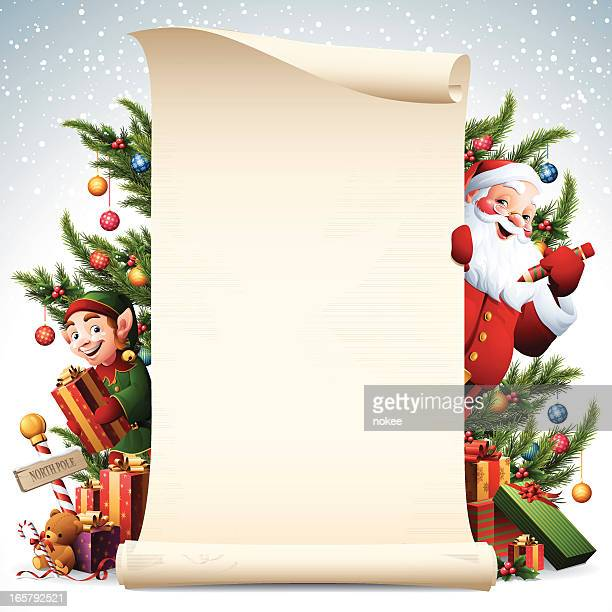 Paper scroll with Santa and Elf and christmas tree decorations