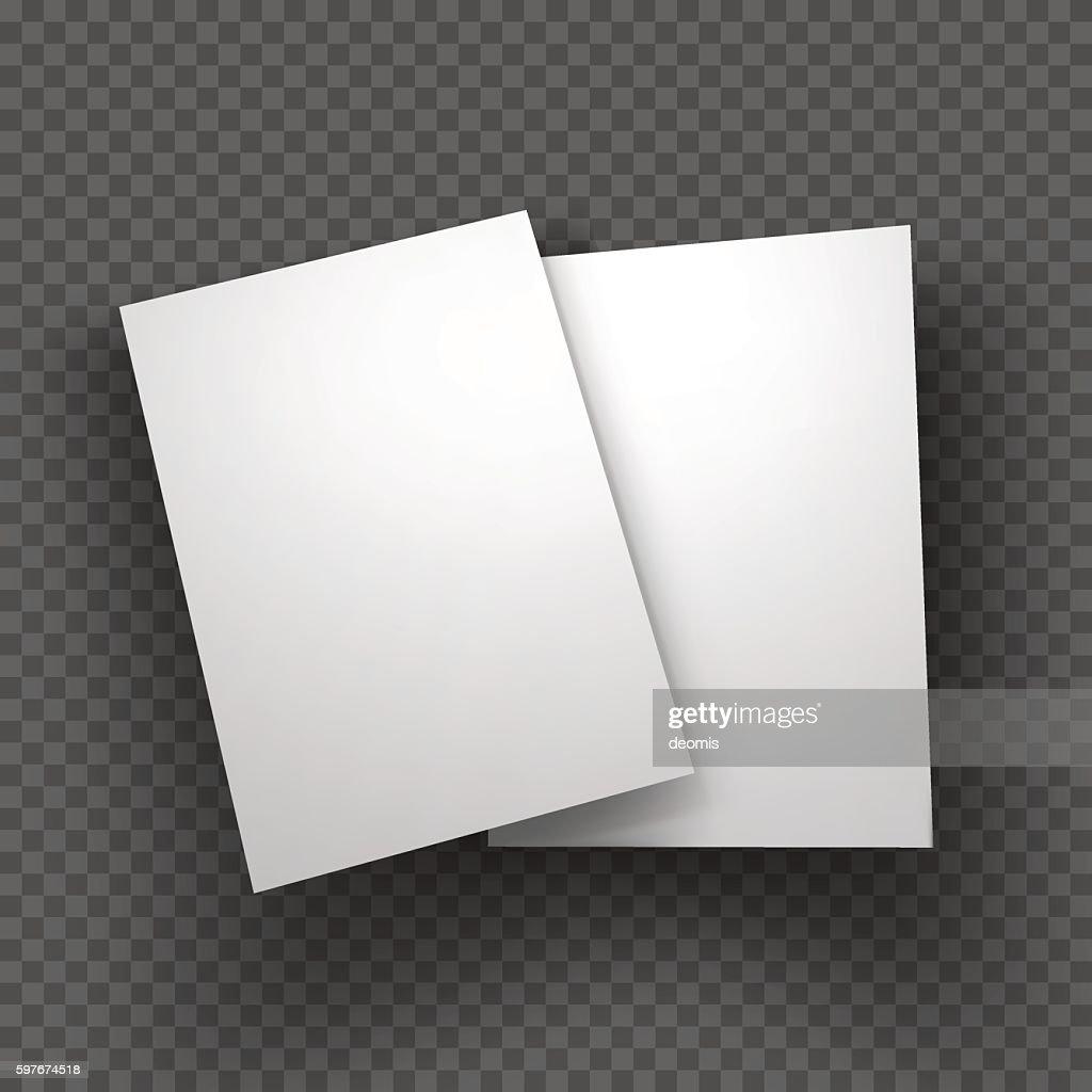 Paper sheets mockup on transparent background. Vector Illustration.