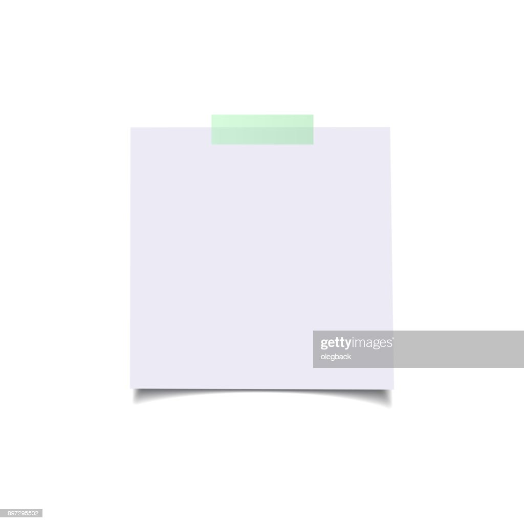 Paper sheets with green sticker. Vector realistic isolated design elements.