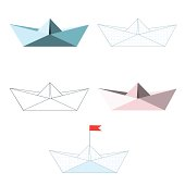 Paper ships .Vector set. Isolated objects on a white background.