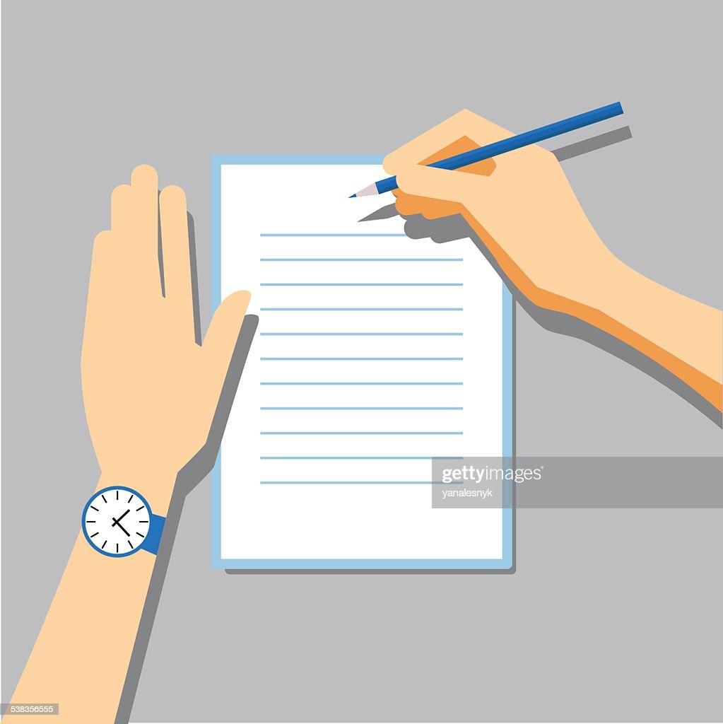Paper Signing Flat Vector Illustration