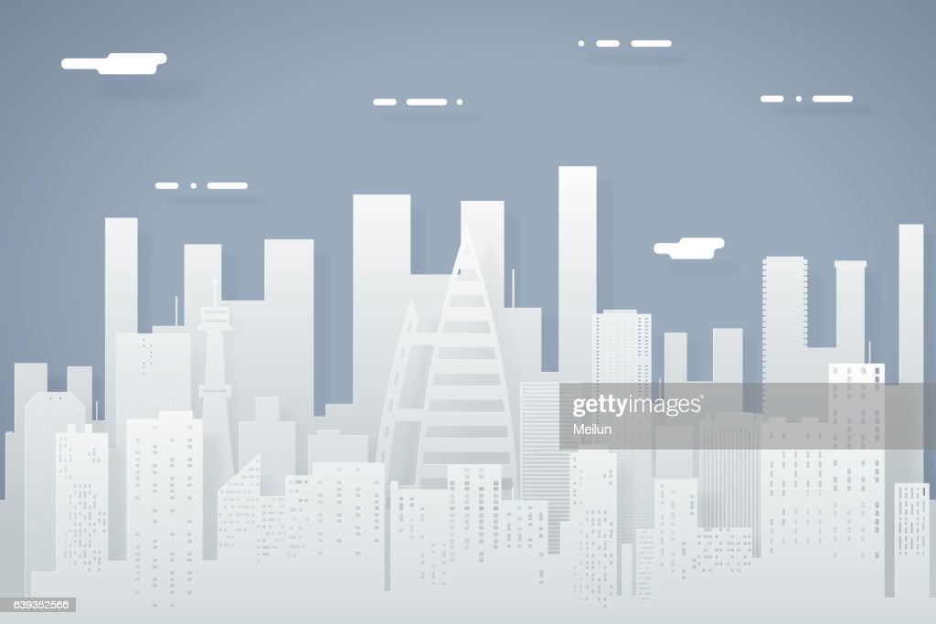 Paper Silhouette Seamless Urban Landscape City Real Estate Summer Day