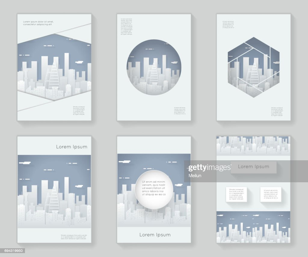 Paper Silhouette Urban Landscape City Real Estate 3d over design template abstract design decorative pattern frame ornament book brochure booklet background vector illustration