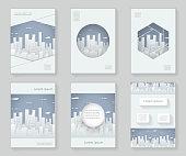 Paper Silhouette Urban Landscape City Real Estate 3d over design template abstract design decorative pattern frame ornament book brochure booklet background vector illustration