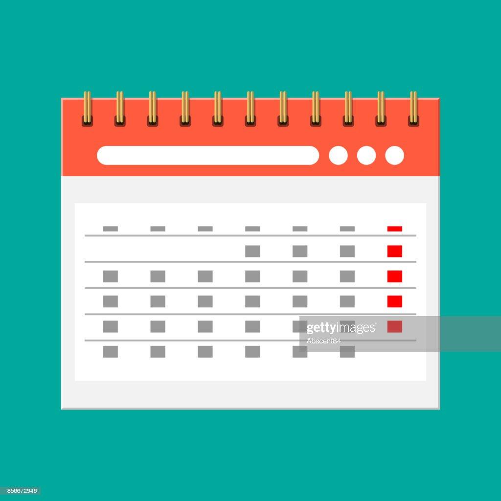Paper spiral wall calendar. Calendar flat icon.