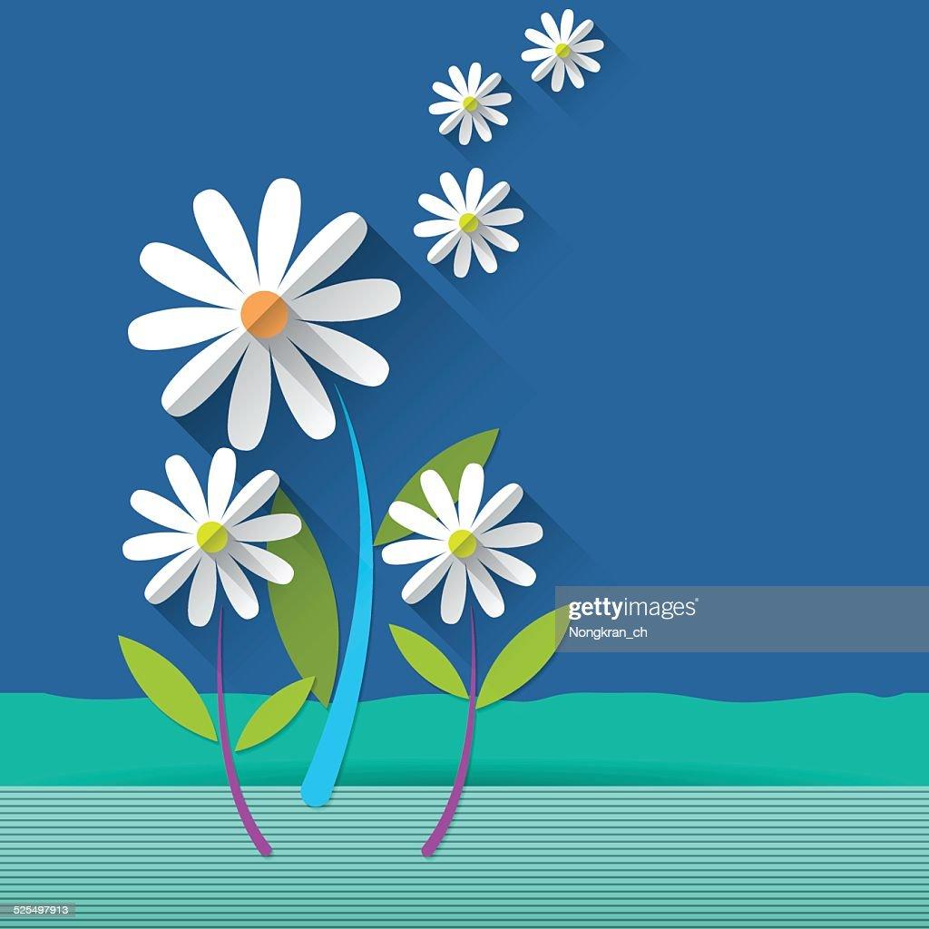Paper spring tree .Daisy flower