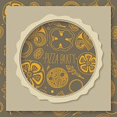 Paper square with cut out circle and doodle food seamless pattern on the background.