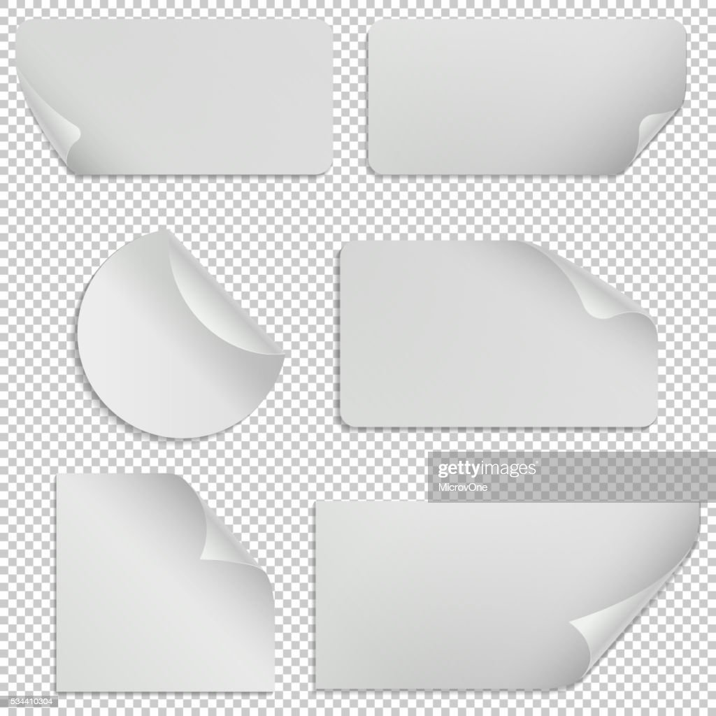Paper stickers and banners with curled corners. Vector set