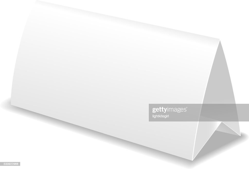 Paper table card, template vector illustration