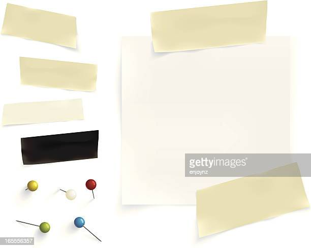 paper, tape & pins - thumbtack stock illustrations, clip art, cartoons, & icons