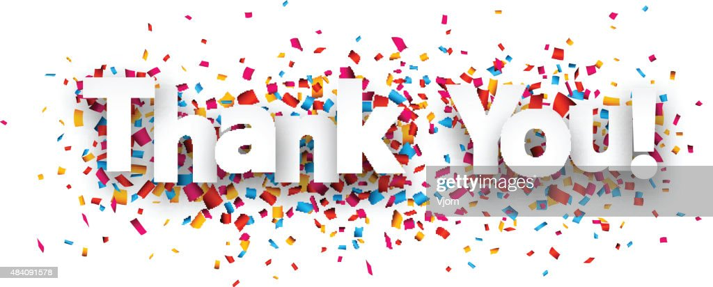 Paper thank you confetti sign