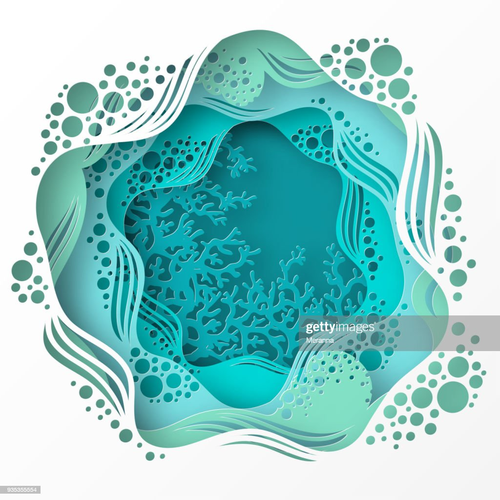Paper underwater sea cave with coral reef, seabed in algae, waves.