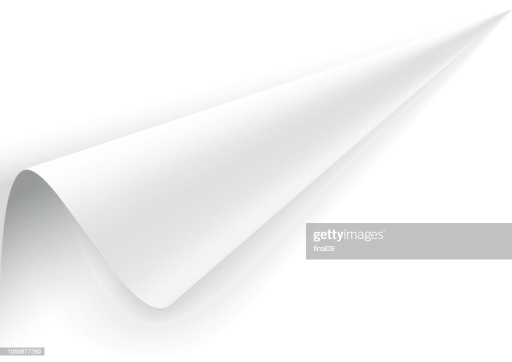 Paper with a wrapped up corner.