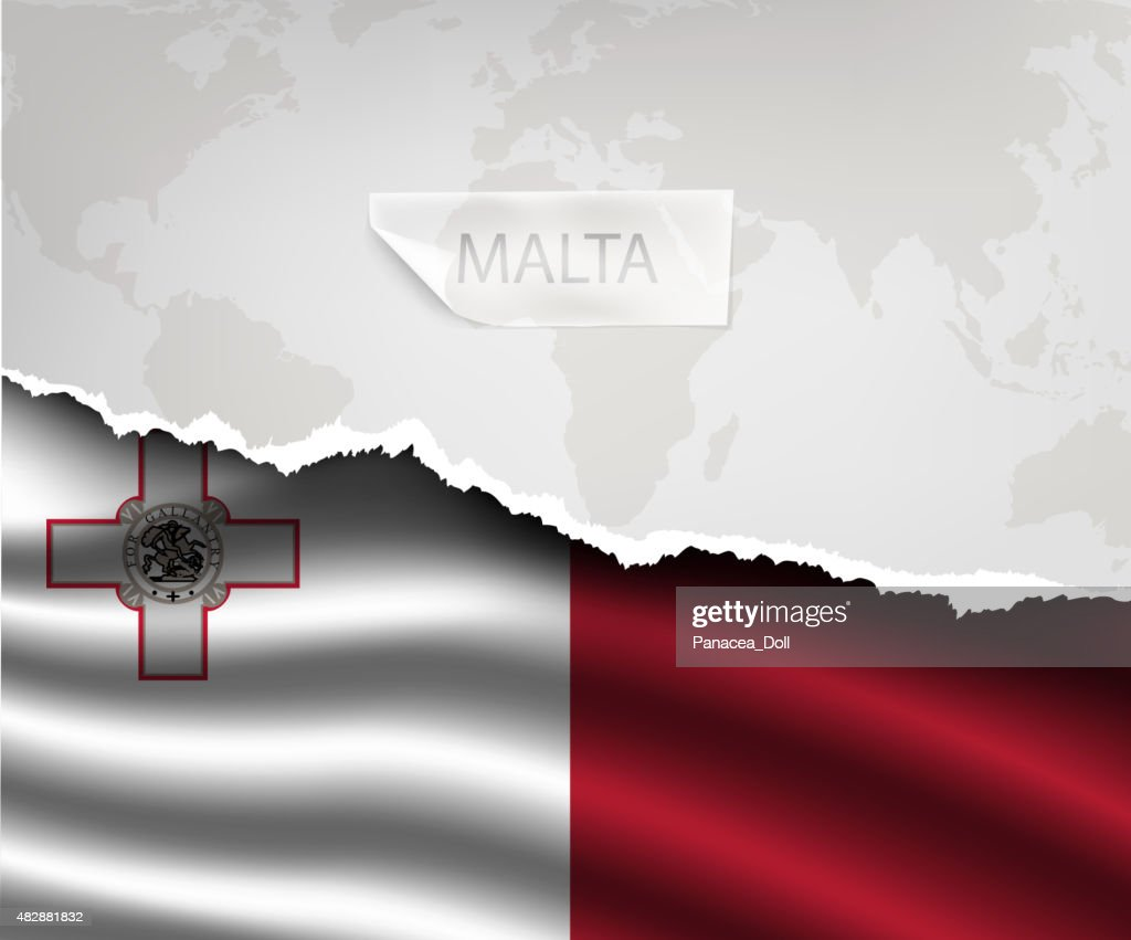 paper with hole and shadows MALTA flag