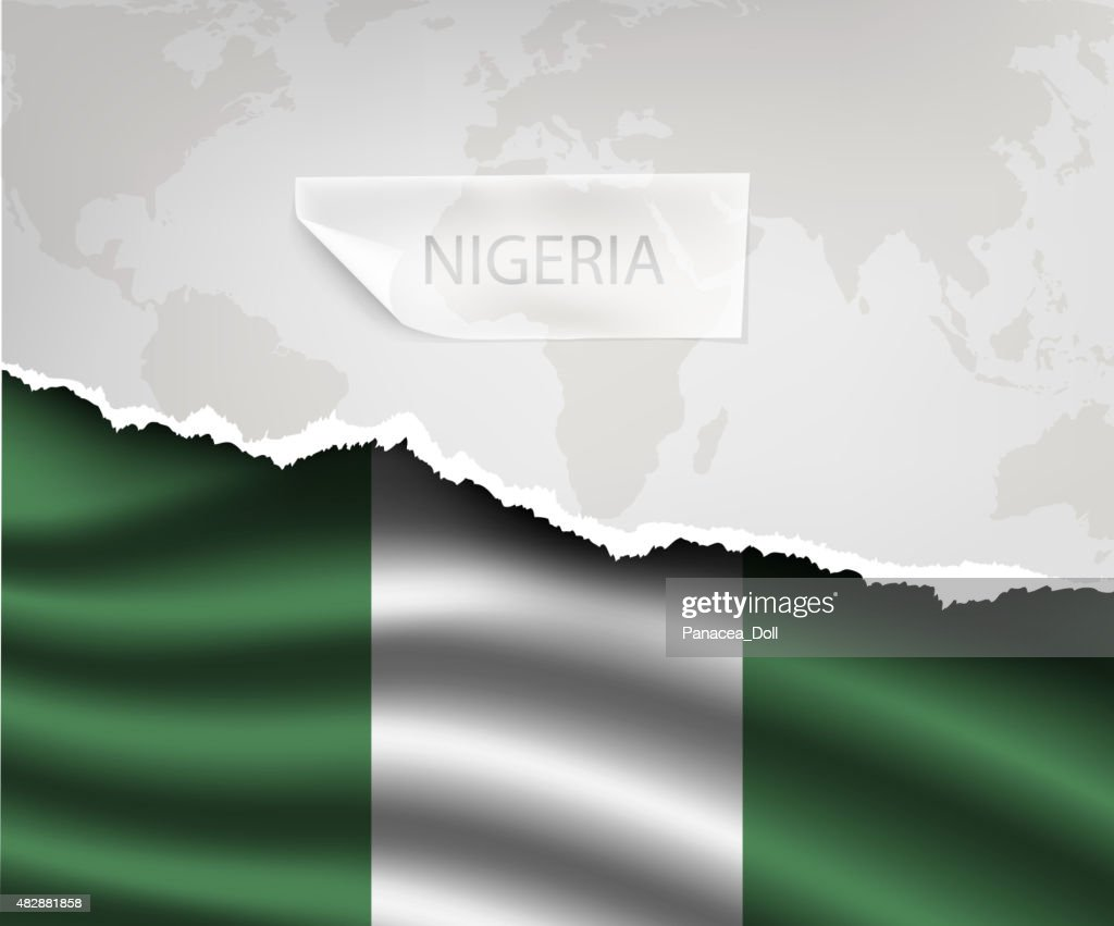 paper with hole and shadows NIGERIA flag