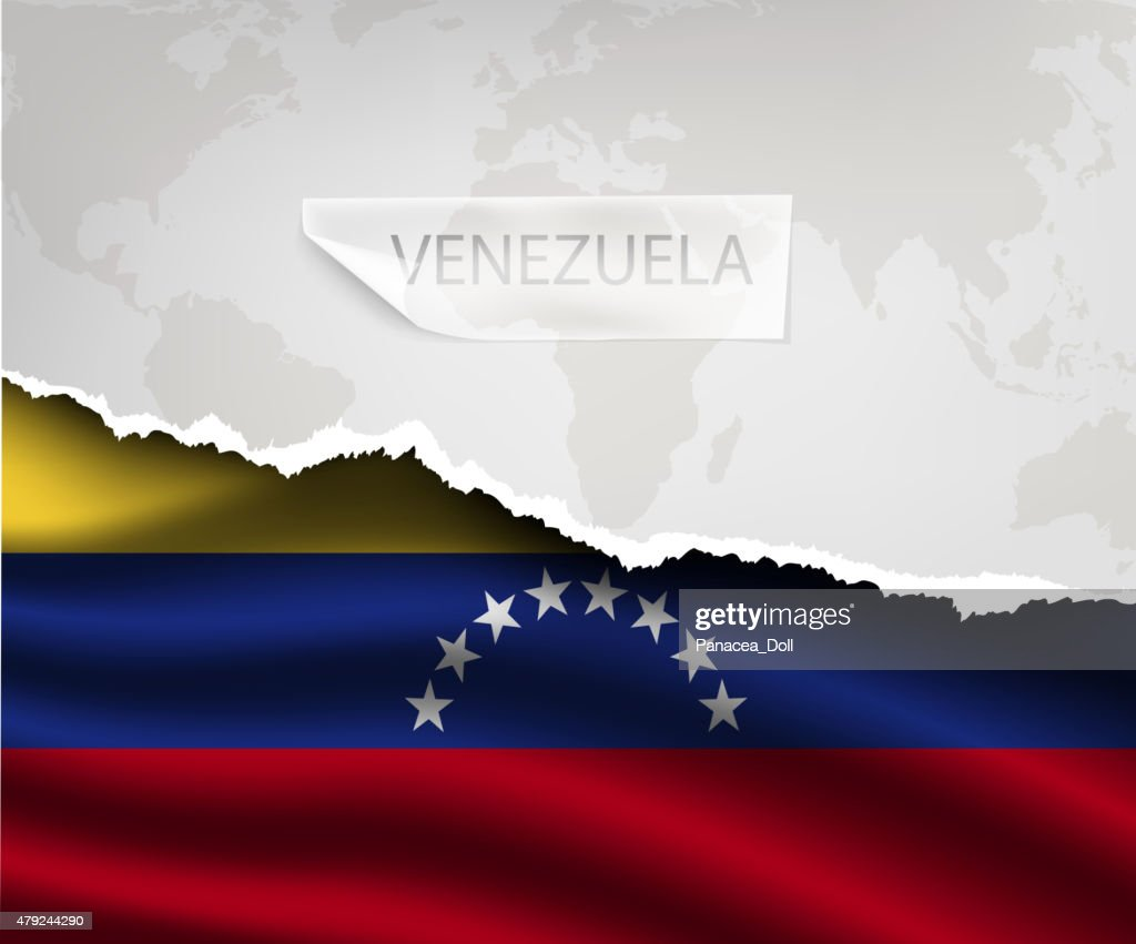 paper with hole and shadows VENEZUELA flag