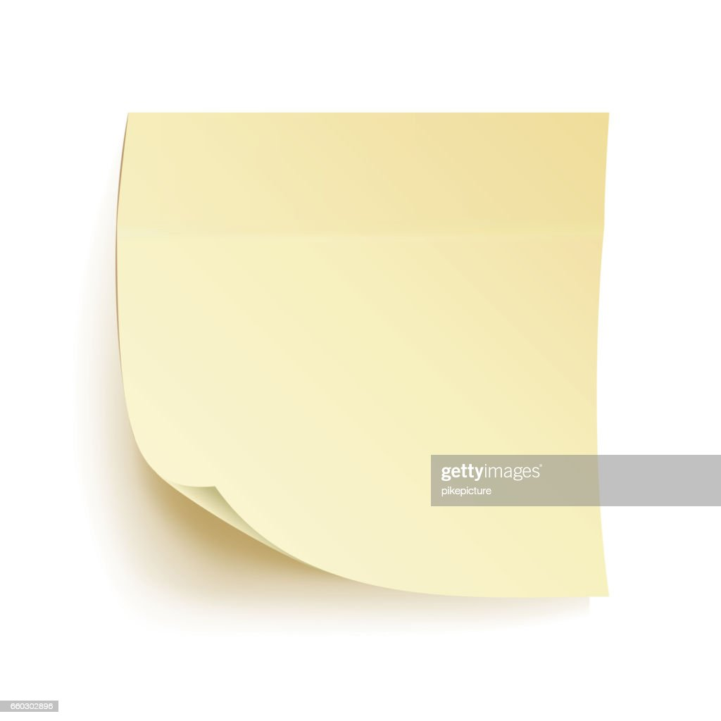 Paper Work Notes Isolated Vector. Blank Sticky Notes. Realistic Illustration On The Wall