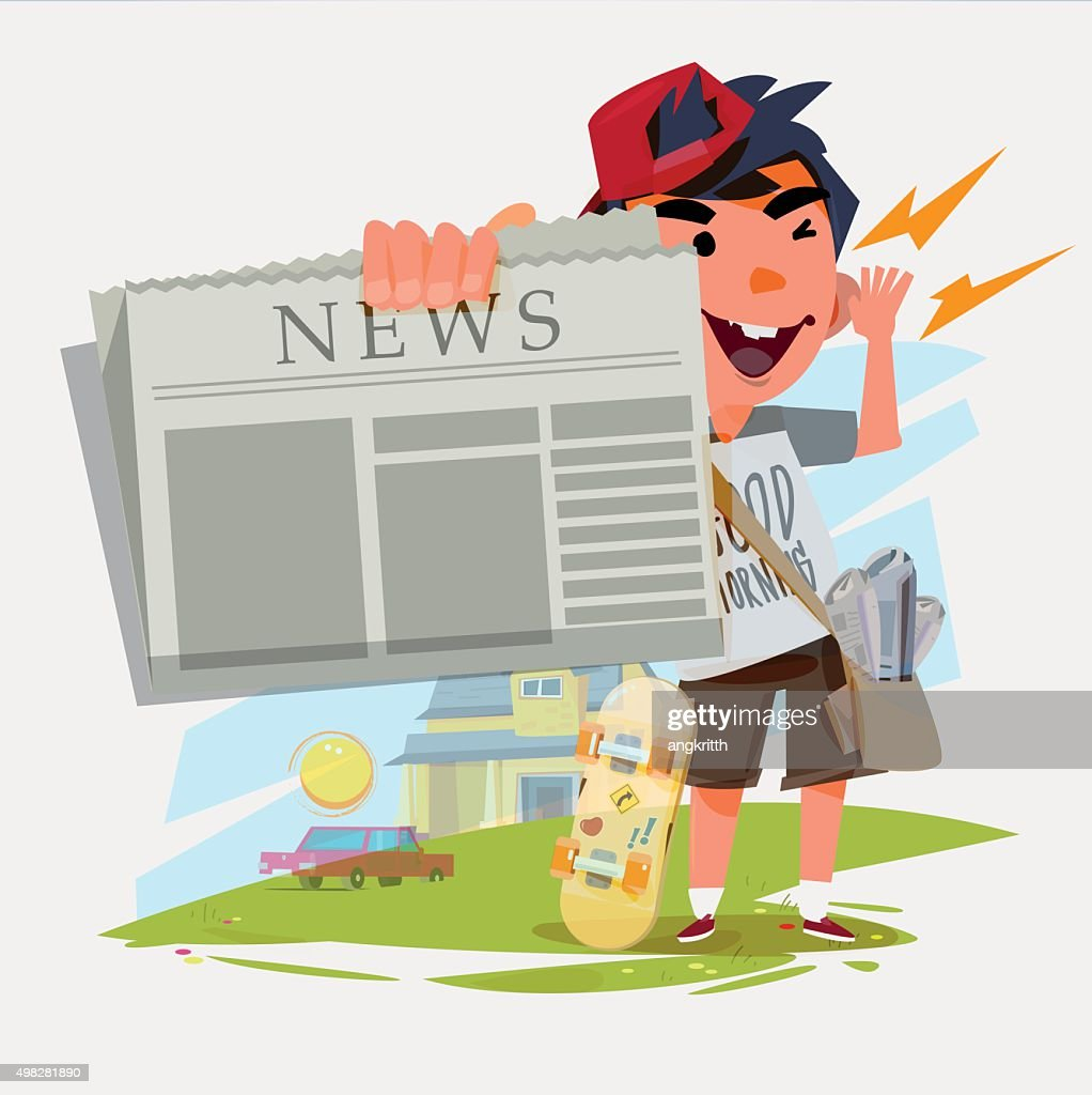 paperboy character showing newspaper and shouting. paperboy with