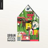 Papercut - colorful layered house on Urban farming