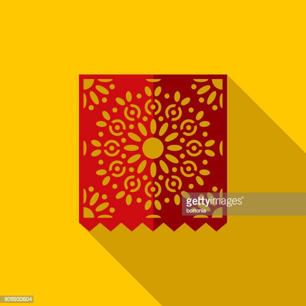 papercut flag design mexico icon with side shadow - latin american culture stock illustrations