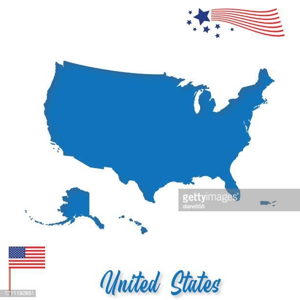 usa paper-cut map - american culture stock illustrations
