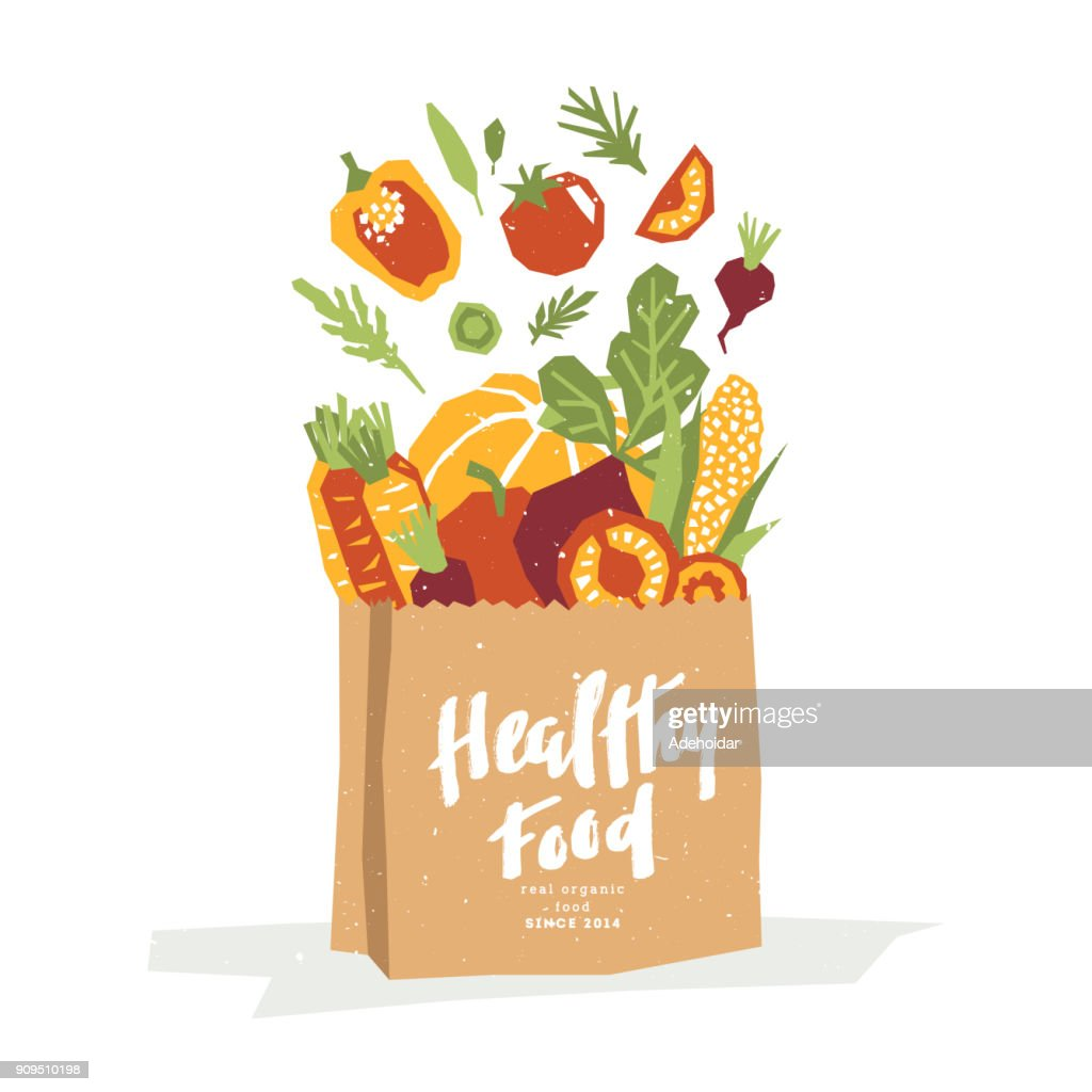 Papercut style vegetables in a paper shopping bag. Organic vegetables. Vector illustration