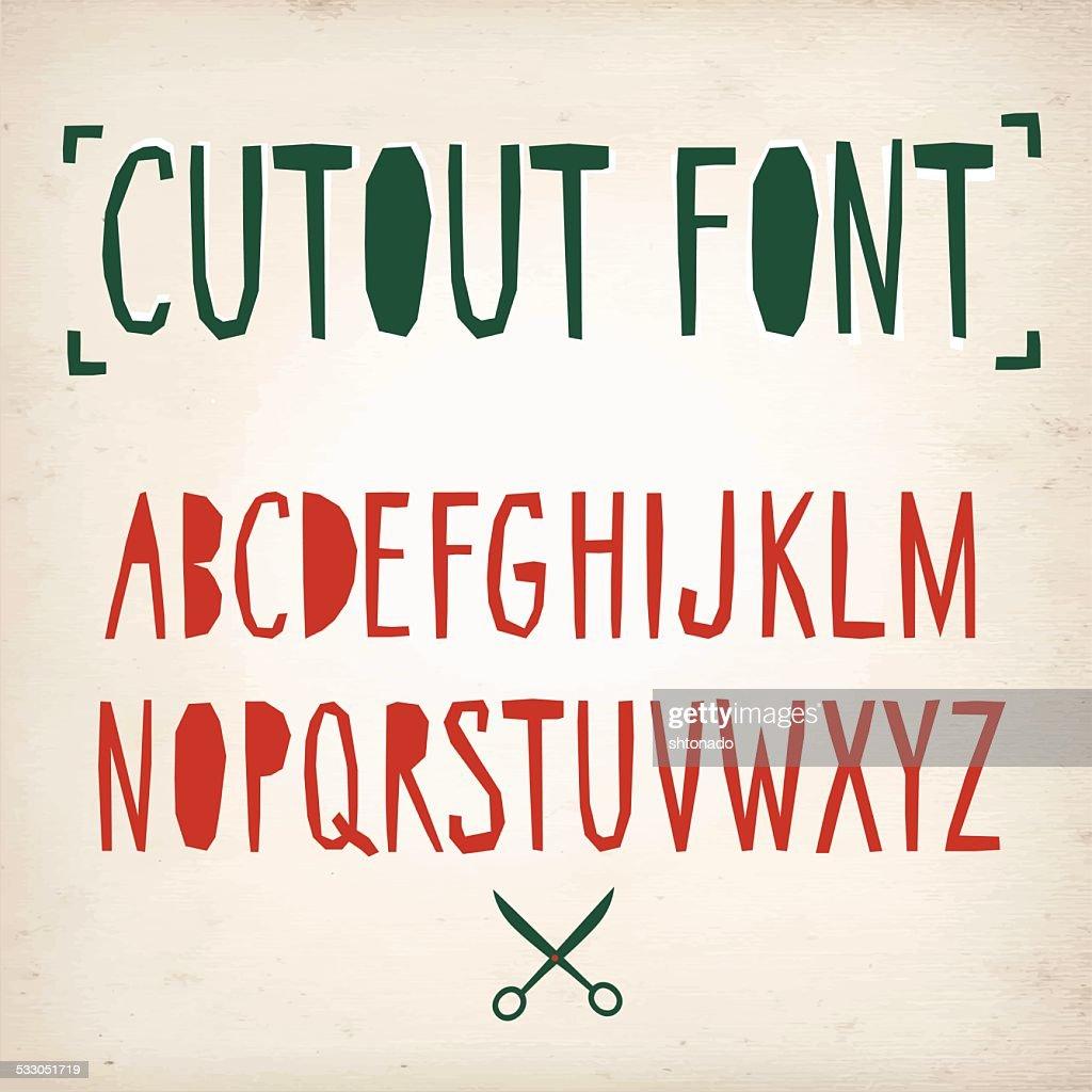Papercut vector font