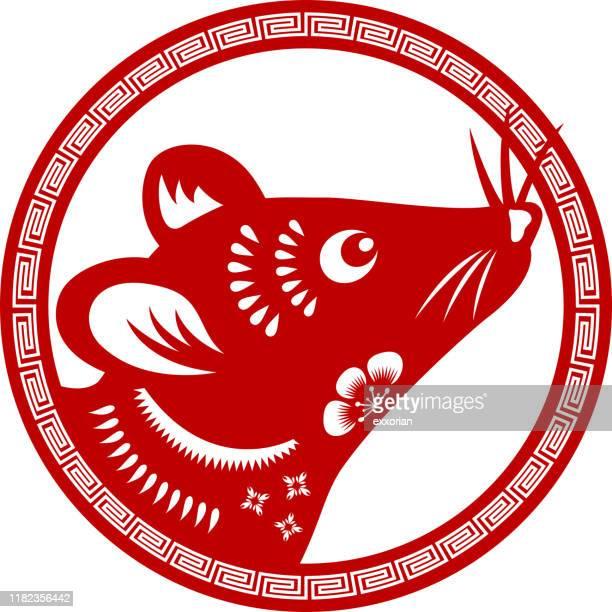 ilustrações de stock, clip art, desenhos animados e ícones de papercut year of the rat head symbol - ratazana