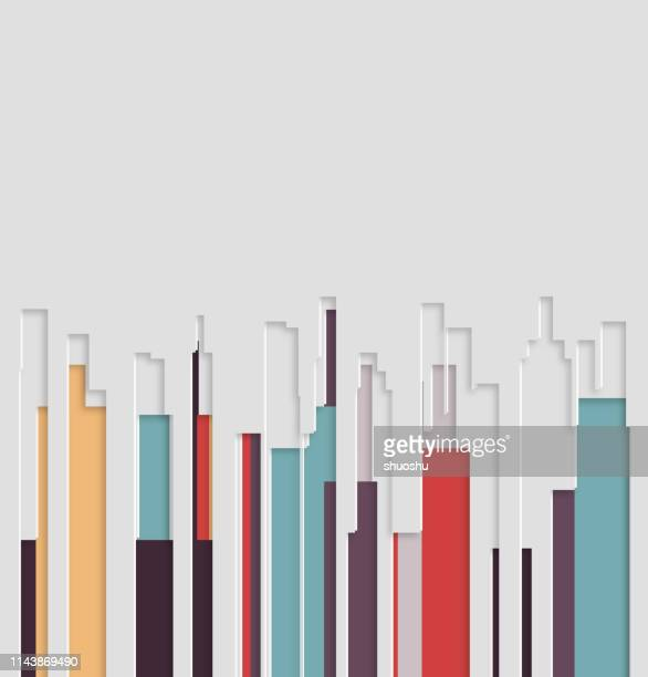 3d papercutting style modern abstract city building pattern background - paper craft stock illustrations
