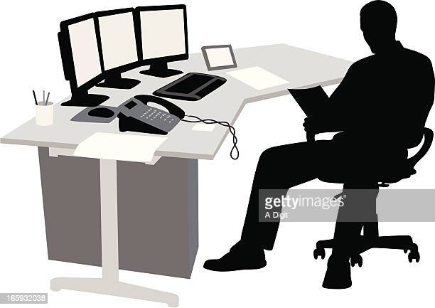 paper'n business vector silhouette - desk organizer stock illustrations, clip art, cartoons, & icons