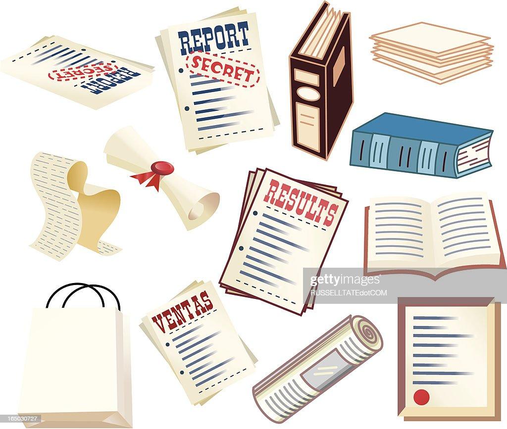 Documentos, planos, relatórios, pastas e arquivos secreto! : Ilustração