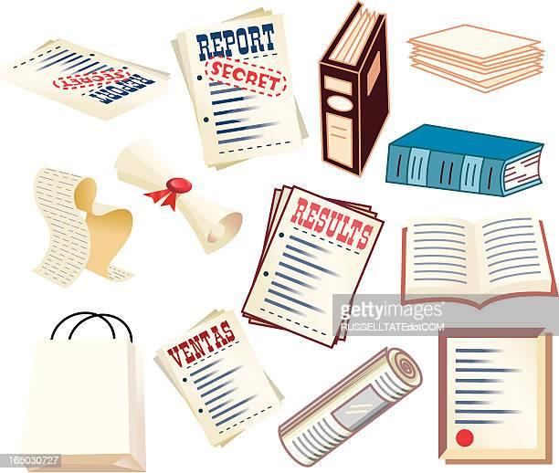 ilustrações, clipart, desenhos animados e ícones de documentos, planos, relatórios, pastas e arquivos secreto! - office safety