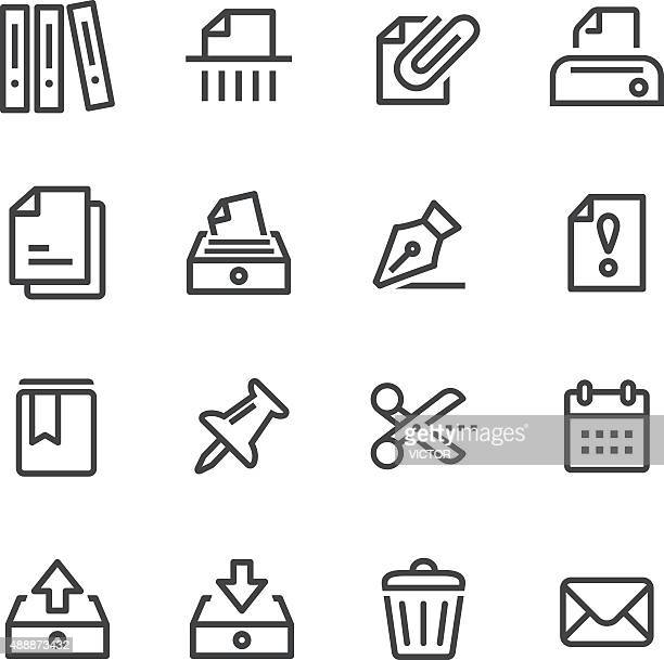 paperwork icons - line series - filing cabinet stock illustrations, clip art, cartoons, & icons