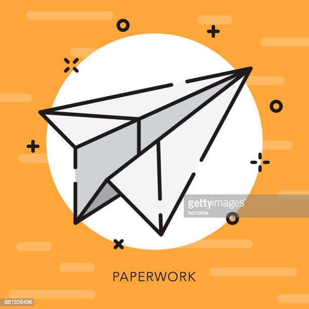 paperwork open outline business icon - paper airplane stock illustrations, clip art, cartoons, & icons