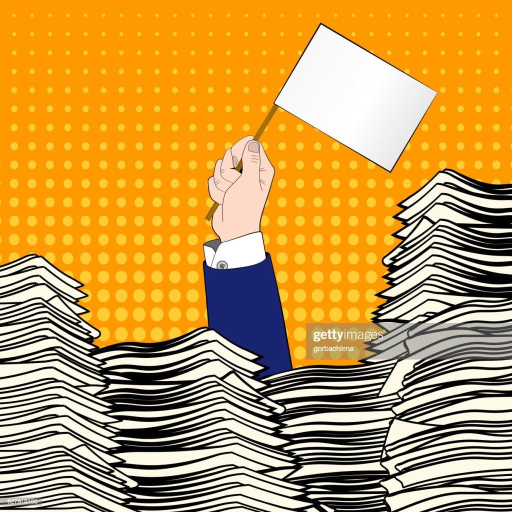 Paperwork. Pop art. Overworked man. Time management. Pile up