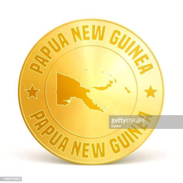 Papua Neu Guinea - Goldmünze auf weißem Hintergrund