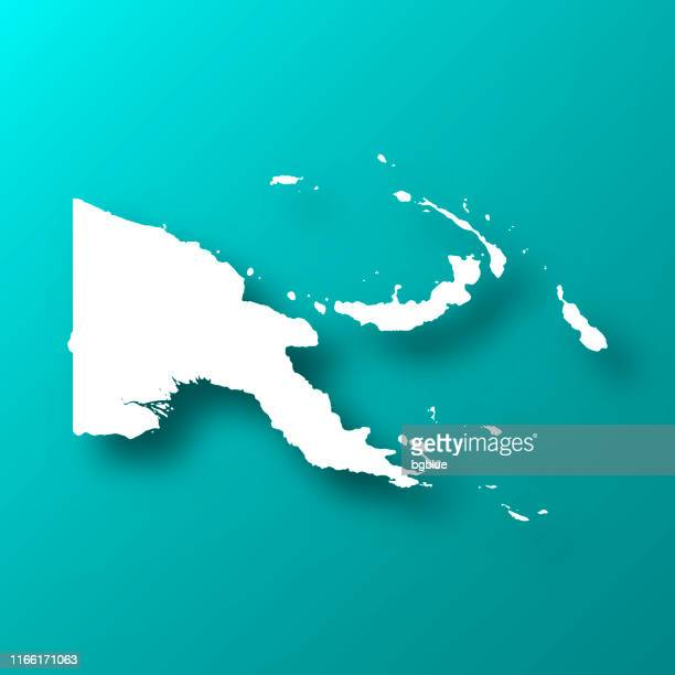 papua new guinea map on blue green background with shadow - port moresby stock illustrations