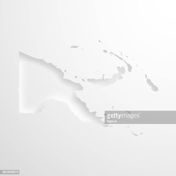 Papua New Guinea map with embossed paper effect - Blank background