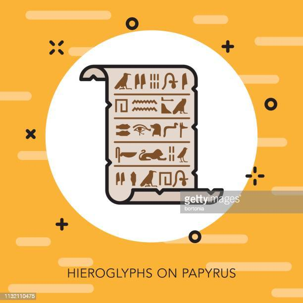 papyrus scroll egypt icon - archaeology stock illustrations