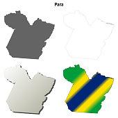 Para blank outline map set