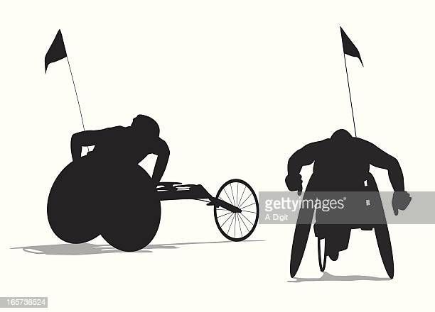 para cycling vector silhouette - wheelchair stock illustrations, clip art, cartoons, & icons