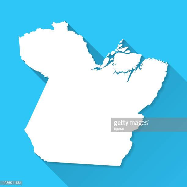 para map with long shadow on blue background - flat design - para state stock illustrations