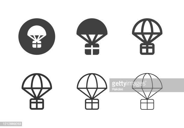 fallschirm airdrop box icons - multi-serie - fallschirm stock-grafiken, -clipart, -cartoons und -symbole