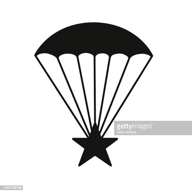 parachute and star - army stock illustrations