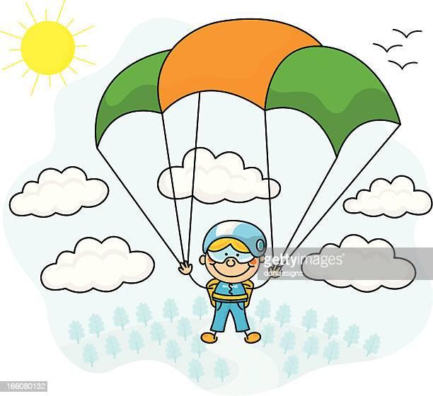 illustrations, cliparts, dessins animés et icônes de parachute jumper enfants - saut en parachute