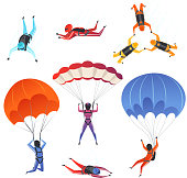 Parachute jumpers. Extreme sport skydiving paragliding male and female sportsmen in sky vector characters