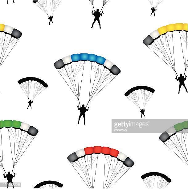 illustrations, cliparts, dessins animés et icônes de vecteur papier peint sans couture parachute pulls - saut en parachute