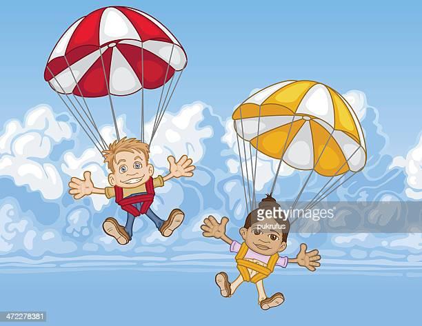 illustrations, cliparts, dessins animés et icônes de parachute pour les enfants - saut en parachute