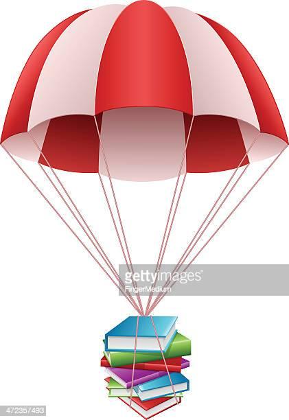 ilustraciones, imágenes clip art, dibujos animados e iconos de stock de paracaídas con libros - libros volando